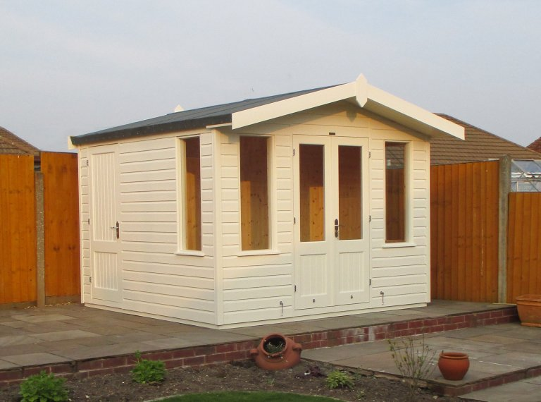 Blakeney Summerhouse with Storage Partition painted in Exterior Cream