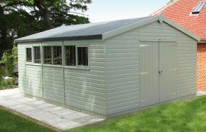 Large Superior Shed as a workshop painted in Exterior Lizard