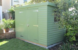 Superior Shed with a pent roof painted in Exterior Lizard