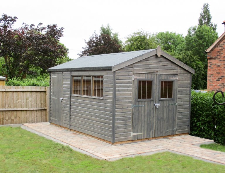 Superior Shed with Security Pack painted in Sikkens Grey