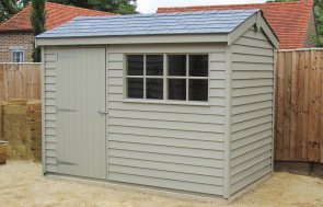 Superior Shed painted in Farrow & Ball's Light Gray with Georgian windows