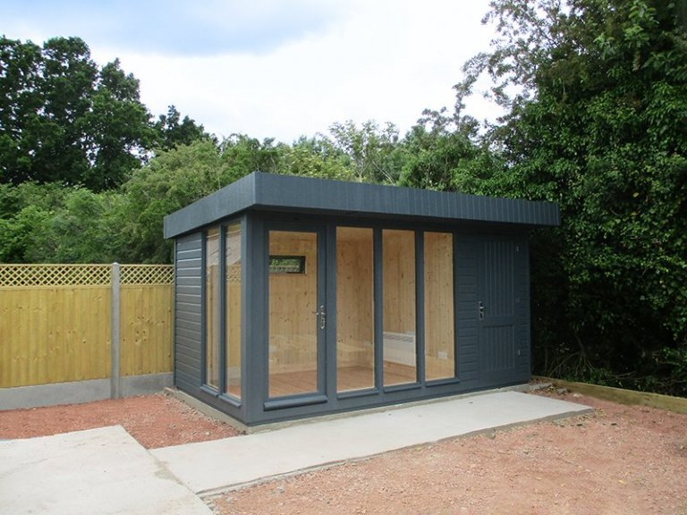 2.4 x 4.2m Salthouse Studio with Partition painted in Exterior Slate