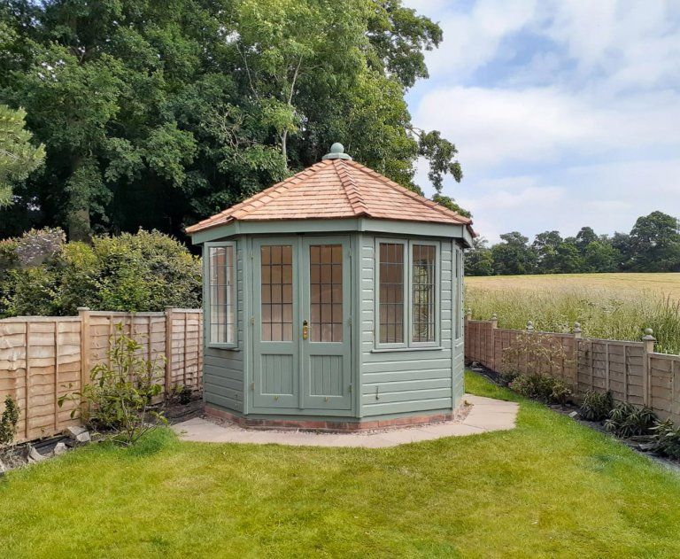 3.0 x 3.0m Wiveton Summerhouse in Farrow & Ball Card Room Green with leaded windows