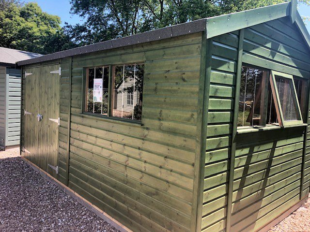 Nottingham Superior Shed treated with a Green Sikkens Wood Stain