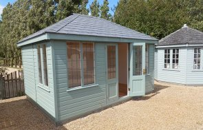 3.0 x 4.2m Cley Summerhouse at Burford painted in Exterior Sage