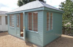 Burford's 3.0 x 4.2m Cley Summerhouse painted in Exterior Sage