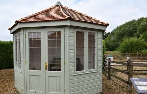 3.0 x 3.0m Wiveton Summerhouse at Narford painted in Exterior Lizard