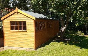 2.4 x 8.0m Superior Shed in Sikkens Teak