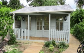 4.2 x 4.2m Pavilion Garden Room in Exterior Verdigris & Farrow & Ball Pointing