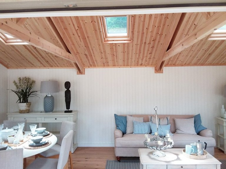 Velux® windows inside the Pavilion Garden Room at Newbury measuring 6.0 x 6.0m