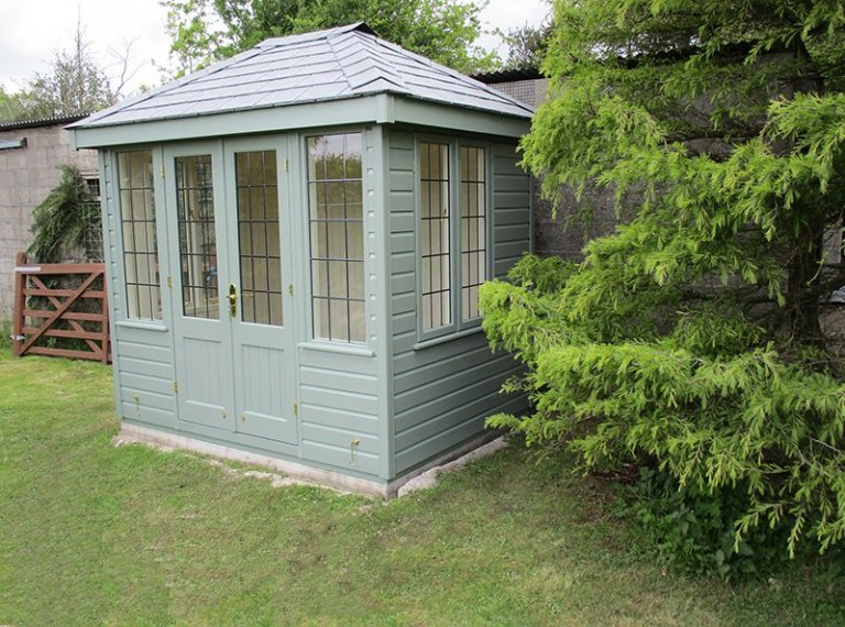 1.8 x 2.4m Cley Summerhouse painted in Farrow & Ball Card Room Green