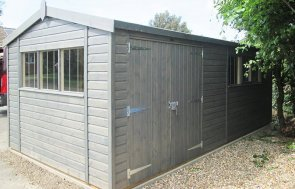 3.0 x 5.8m Superior Shed treated with a Grey Sikkens Wood Stain