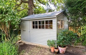 3.0 x 3.6m Weatherboard Clad Superior Shed painted in Exterior Ash