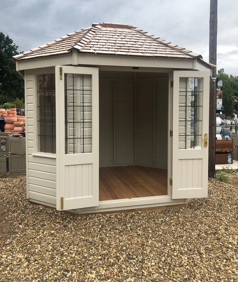 2.4 x 3.0m Classic Summerhouse at St Albans with open double doors