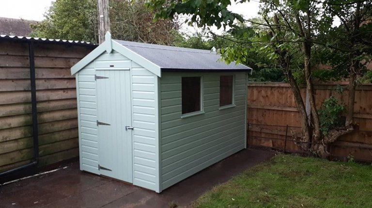 1.8 x 3.0m Classic Shed painted in Seagrass from our Classic Paint System
