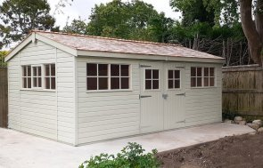 Farrow & Ball French Gray Superior Shed measuring 3.6 x 5.4m