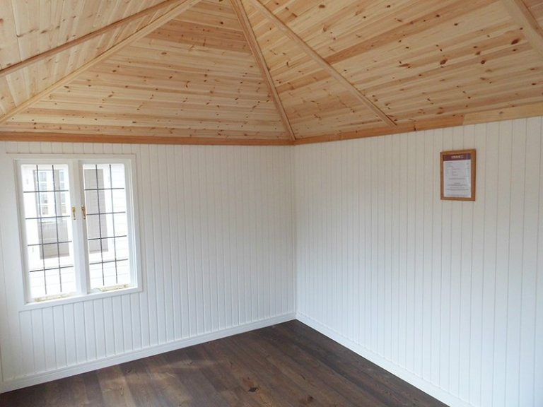 Inside the Sage Painted Cley Summerhouse at Burford