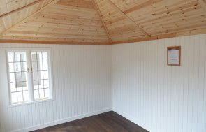 Inside the Cley Summerhouse at Burford with Ivory Painted Matchboard on the walls