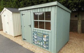 1.8 x 2.4m Oxburgh Shed painted in Terrace Green at our Burford Show Centre