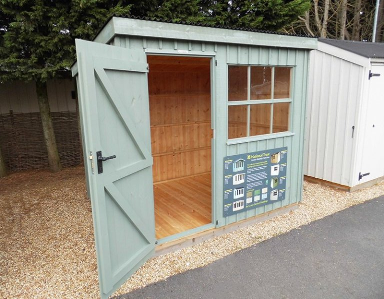Oxburgh Shed with open door measuring 1.8 x 2.4m at our Burford Show Centre