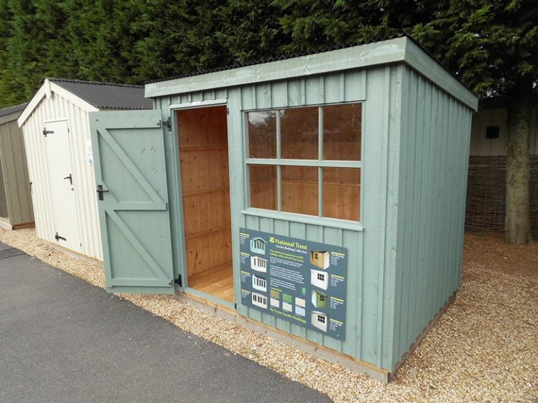 Traditional National Trust Oxburgh Shed with open door measuring 1.8 x 2.4m at our Burford Show Centre