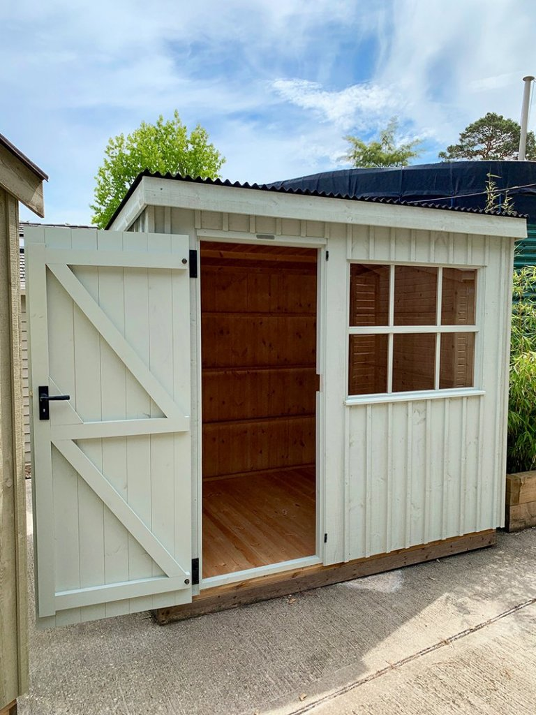 1.8 x 2.4m Oxburgh Shed at Our Sunningdale Show Centre with open door