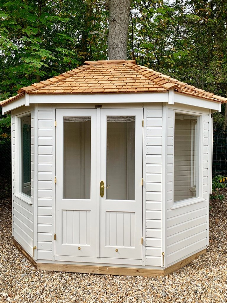 Sunningdale's 2.4 x 3.0m Classic Summerhouse painted in Cotton