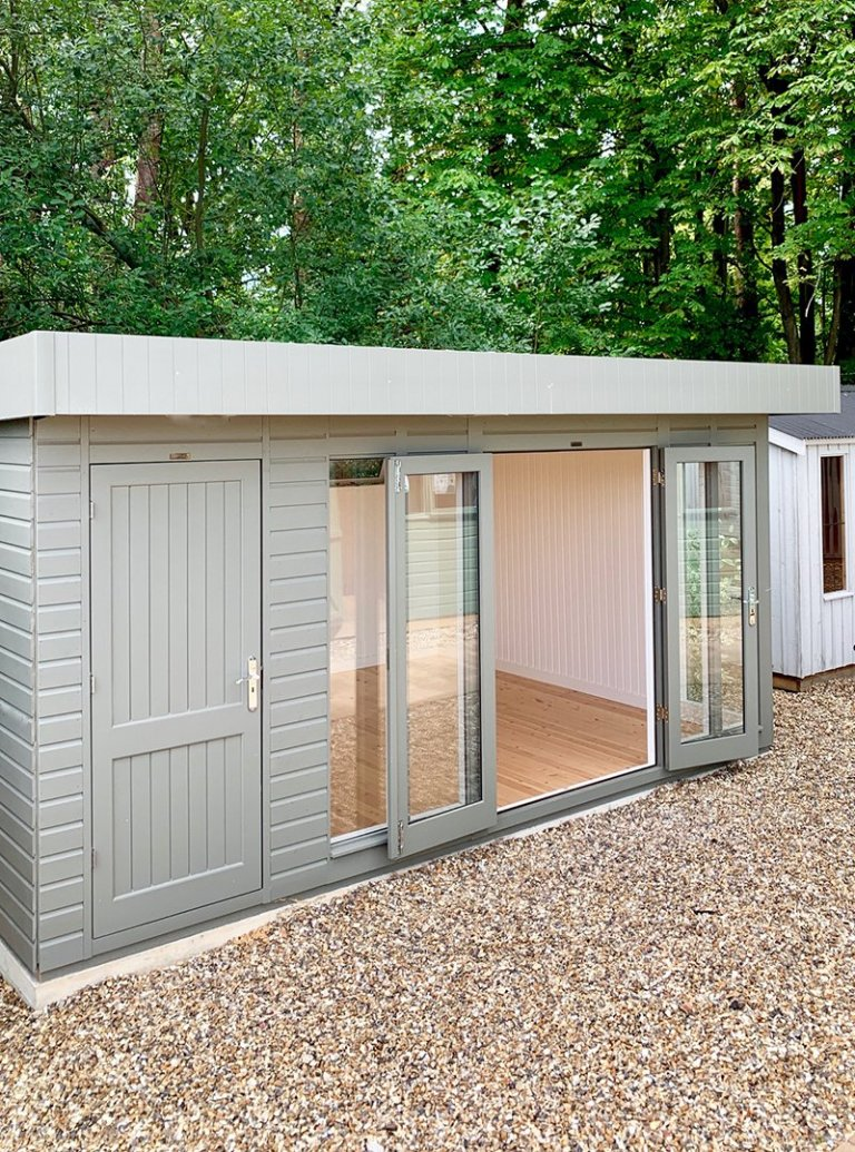 3.6 x 4.8m Salthouse Studio with storage partition at Sunningdale painted in Ash