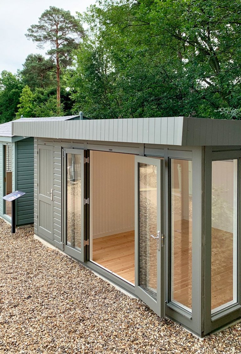 Ash painted Salthouse Studio with storage partition at Sunningdale