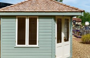 Side view of the Verdigris & Ivory painted Weybourne Summerhouse at Sunningdale measuring 3.0 x 3.0m
