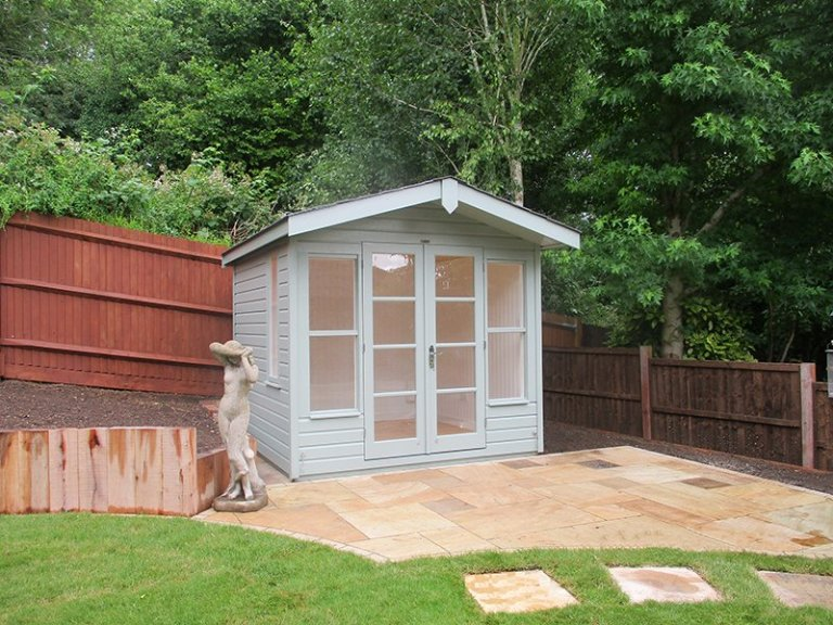 2.4 x 2.4m Fully Lined and Insulated Blakeney Summerhouse painted in Sage