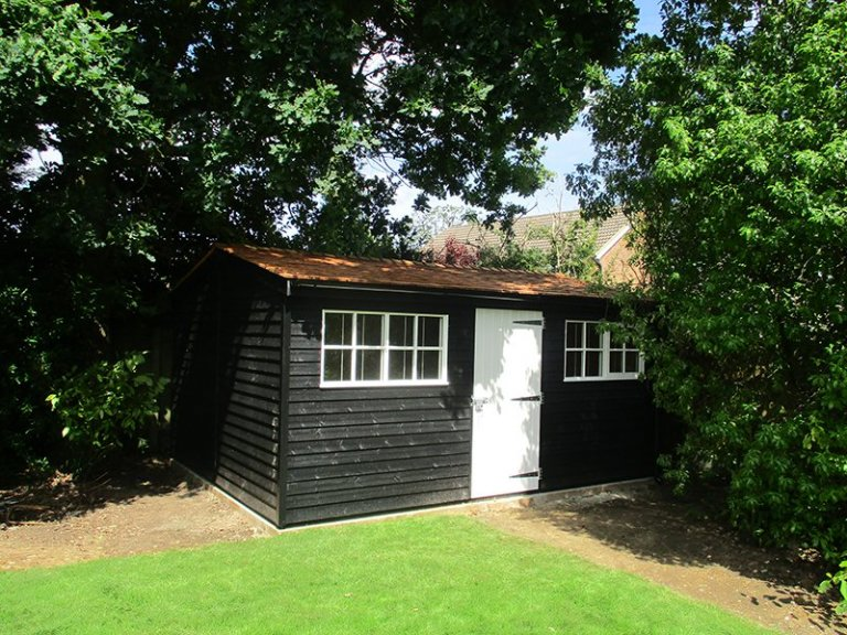 3.6 x 4.8m Fully Lined and Insulated Superior Shed in two-tone Black & Ivory
