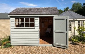 2.4 x 3.0m Superior Shed at Cranleigh painted in Farrow & Ball Pigeon