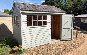 Cranleigh's 2.4 x 3.0m Superior Shed painted in Farrow & Ball Pigeon