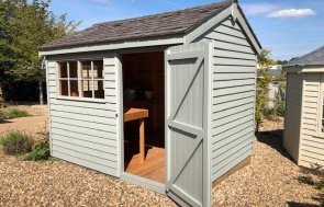 Cranleigh's Superior Shed measuring 2.4 x 3.0m painted in Farrow & Ball Pigeon