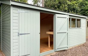 3.6 x 5.4m Superior Shed at Trentham painted in Sage from our Exterior Paint System