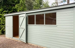 Trentham's 3.6 x 5.4m Superior Shed painted in Sage from our Exterior Paint System