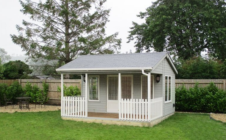 Pavilion Garden Room in two-tone Pebble & Ivory measuring 4.2 x 4.2m