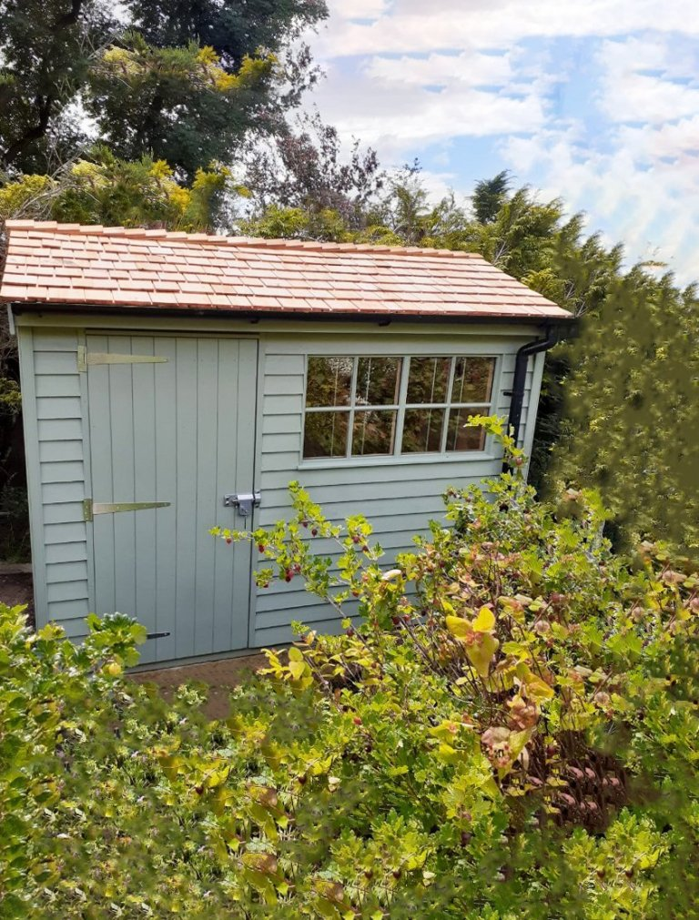 1.8 x 3.0m Weatherboard Clad Superior Shed painted in Exterior Lizard