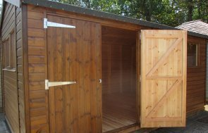 Sunningdale's 3.0 x 4.8m Superior Shed treated with a Walnut Sikkens wood stain