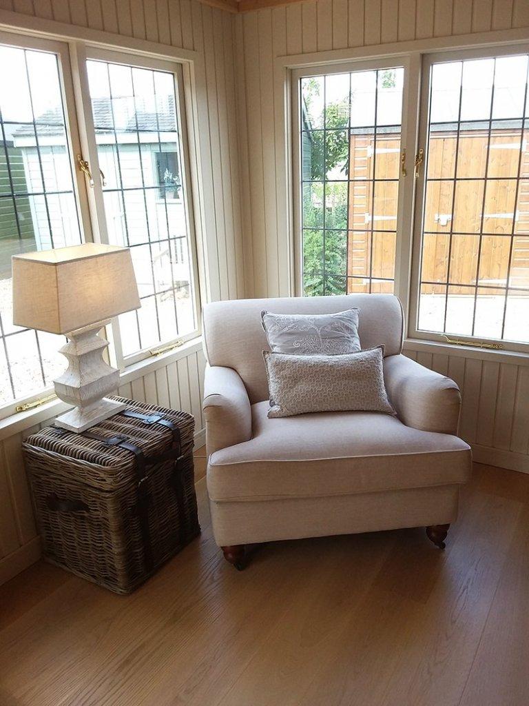Reading nook inside Brighton's 4.2 x 6.0m Garden Room