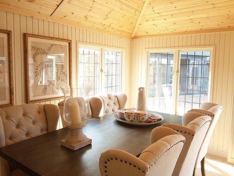 Dining area inside Brighton's 4.2 x 6.0m Garden Room