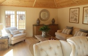 Interior of Brighton's 4.2 x 6.0m Garden Room painted in Farrow & Ball Light Gray & Old White
