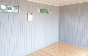 Inside Brighton's 3.0 x 4.2m Salthouse Studio painted in Farrow & Ball Downpipe