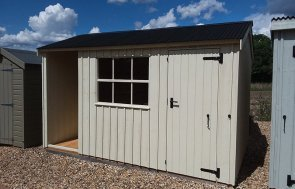 Brighton's 2.4 x 3.6m Blickling Shed painted in Dome Ochre