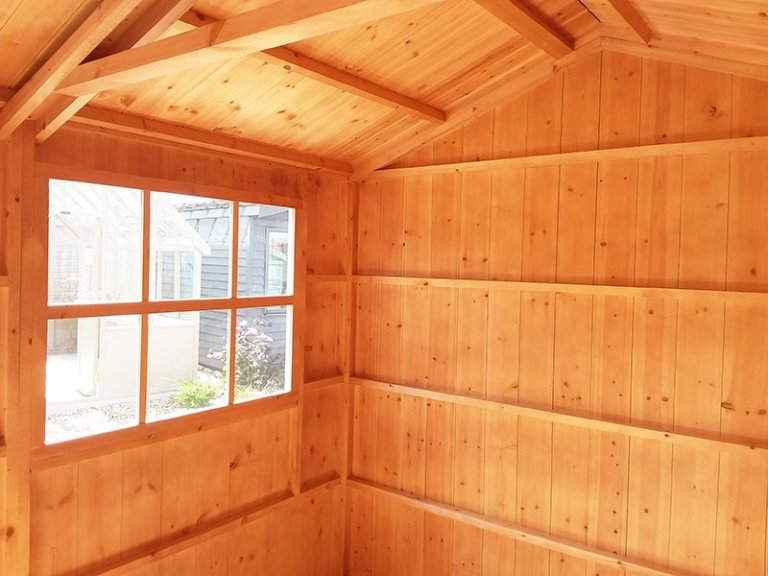 Inside the 2.4 x 3.6m Blickling Shed at Brighton