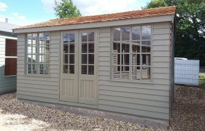 3.0 x 4.2m Holkham Summerhouse at Brighton painted in Ash from our exterior paint system