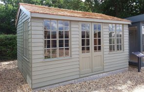 Brighton's 3.0 x 4.2m Holkham Summerhouse painted in Ash from our exterior paint system