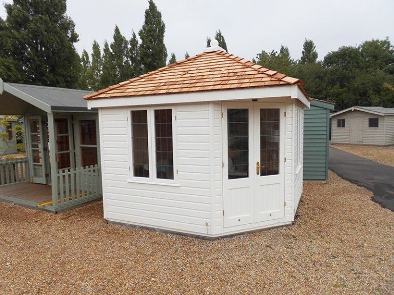 3.0 x 3.0m Weybourne Summerhouse at Burford painted in Farrow & Ball Pointing