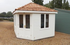 Burford's 3.0 x 3.0m Weybourne Summerhouse painted in Farrow & Ball Pointing